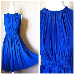 Kaye Spade royal blue crepe tie pleated  dress S 2